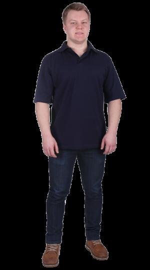 Рубашка-поло с манжетами тем.синяя