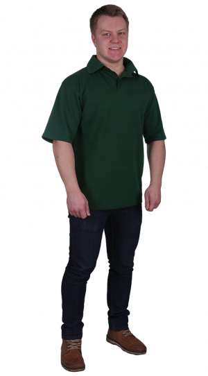 Рубашка-поло с манжетами тем.зеленая