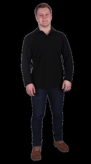 Рубашка-поло с длинным рукавом черная