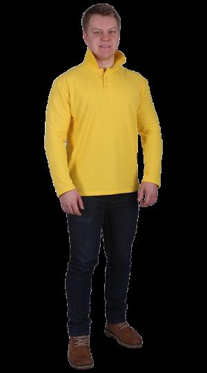 Рубашка-поло с длинным рукавом желтая