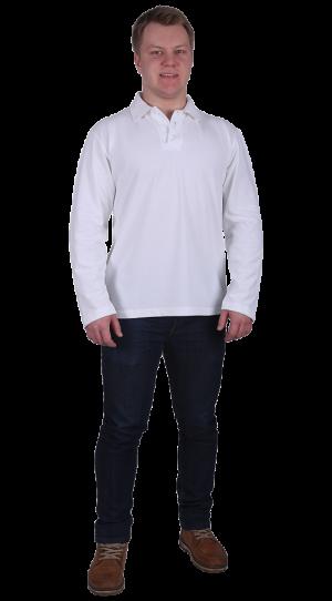 Рубашка-поло с длинным рукавом белая