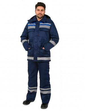 Костюм зимний Горизонт-Люкс (тк.Смесовая,210) брюки, т.синий/васильковый