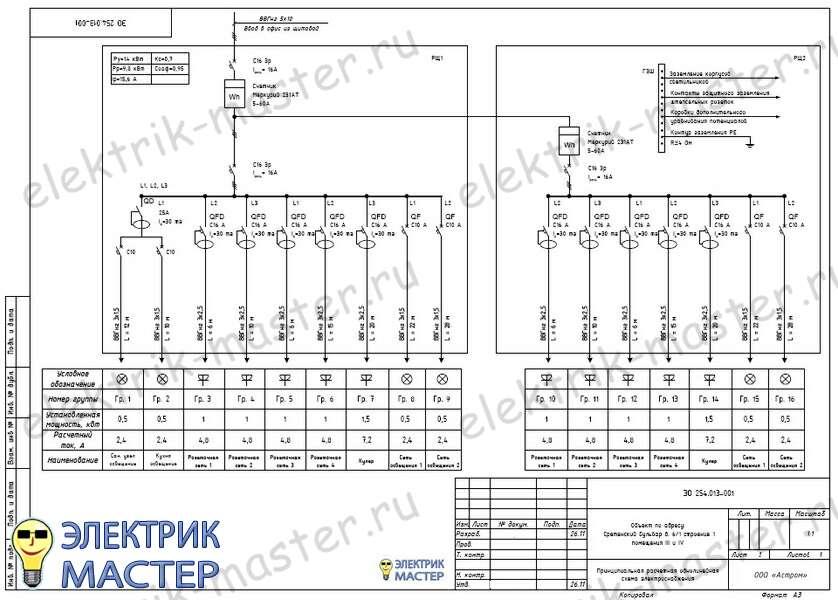 образец однолинейной схемы электроснабжения предприятия